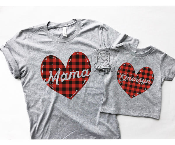 Mommy + Me - Plaid Heart Set