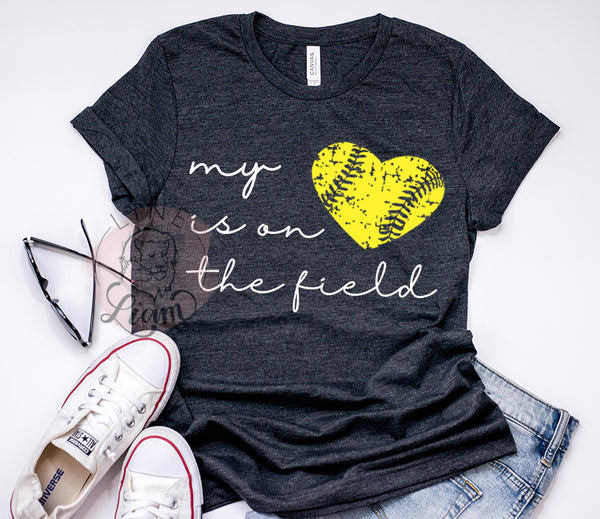 My heart is on the field Softball - Crewneck or V-Neck