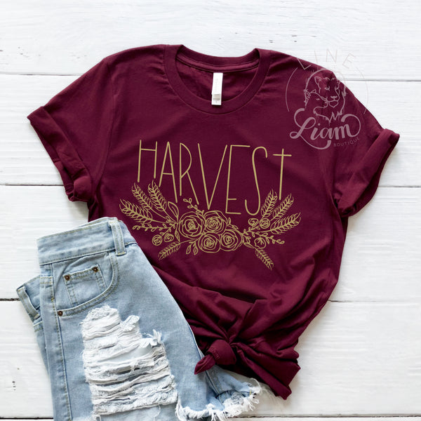 Harvest Floral Gold - V-neck or Crewneck Tee