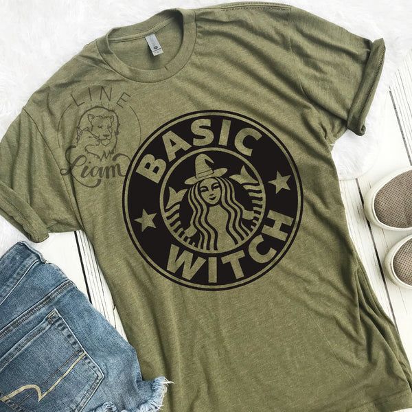 Basic Witch - Heather Military Crewneck tee