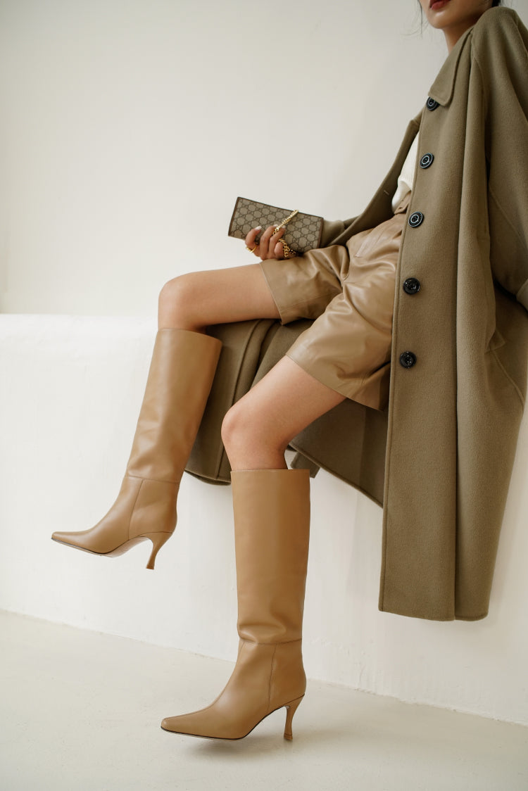 Alais Beige Knee High Boots