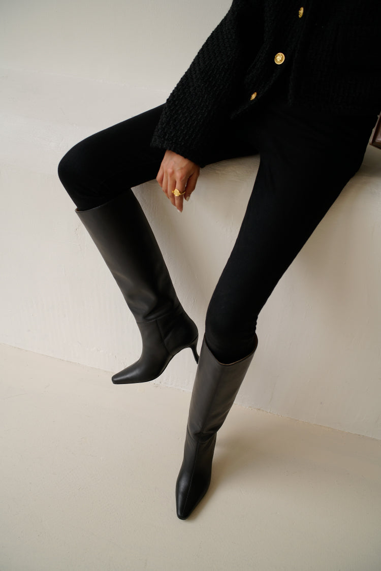 Alais Knee High Boots in Black