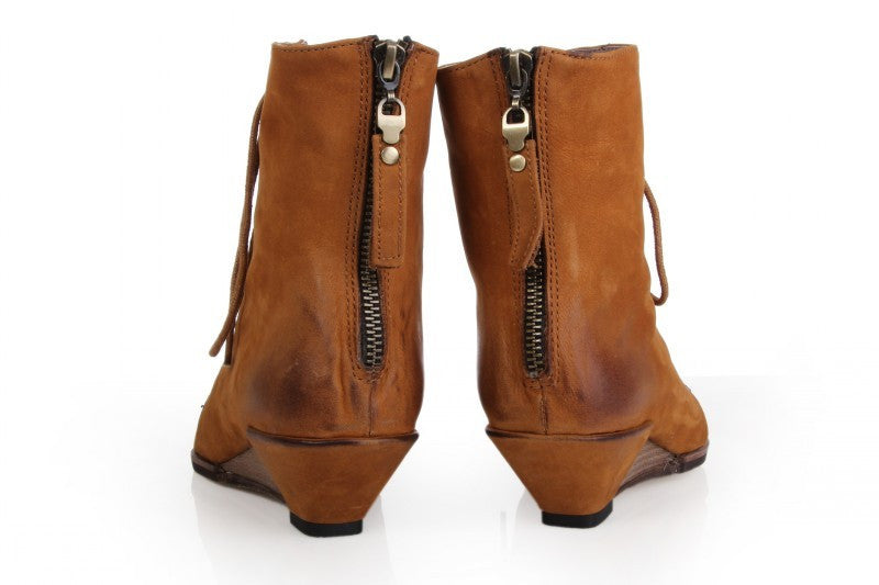 Crazy girl open toe wedge ankle bootie