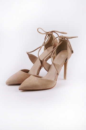 Poppin Suede High Heels in Beige