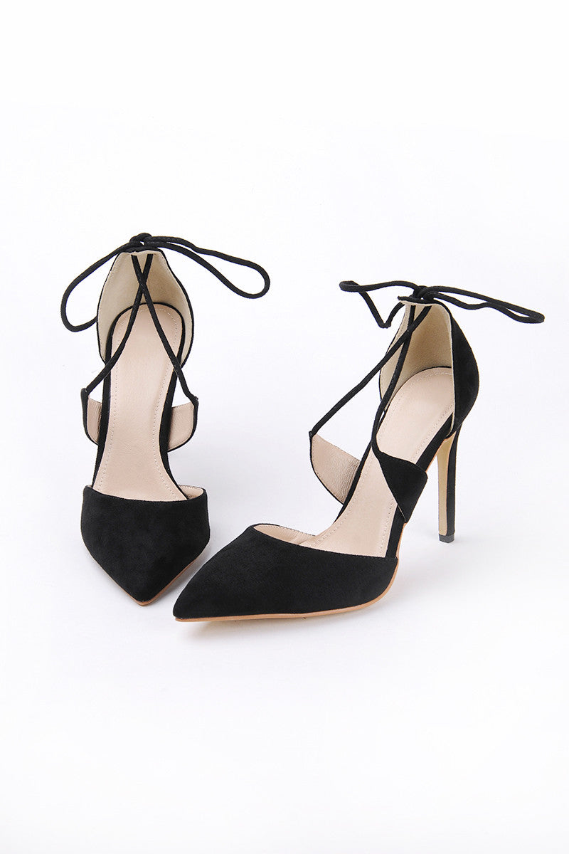 Poppin Suede High Heels in Black