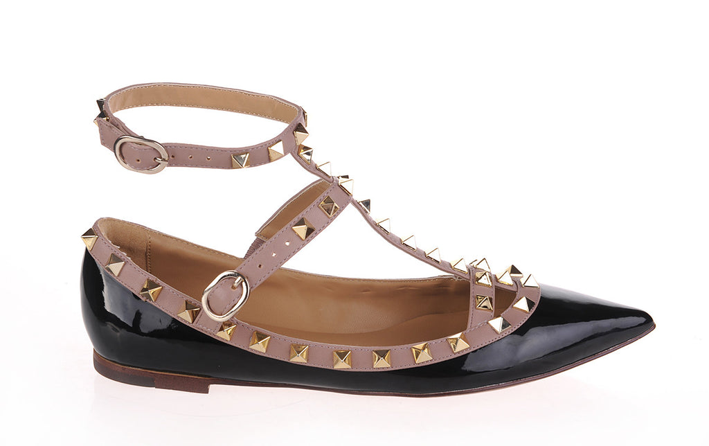 Daisy Studded Flats in black