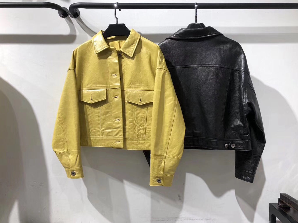 Chloey leather jacket in yellow