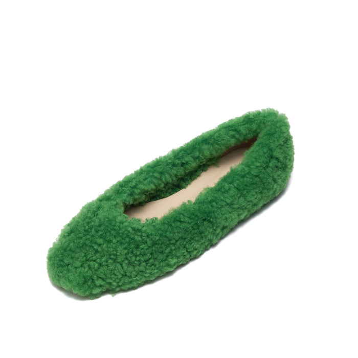 Ciana fur flats green