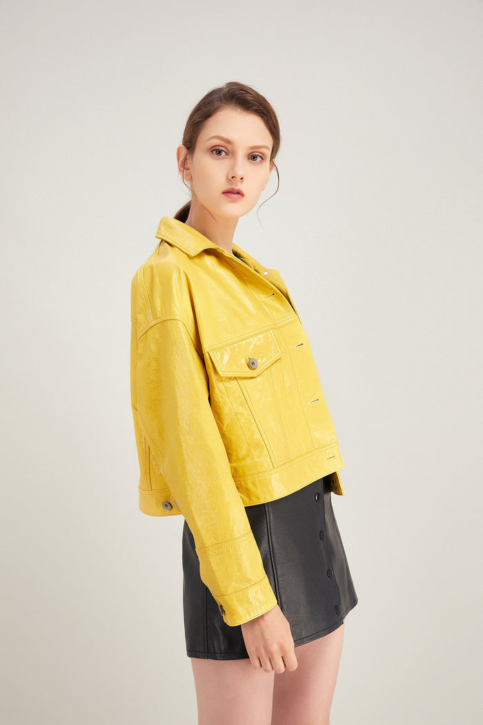 Chloe leather jacket in yellow