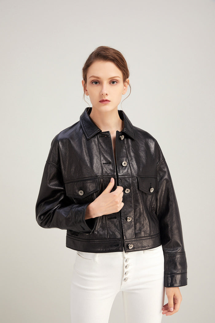 Chloey leather jacket in black