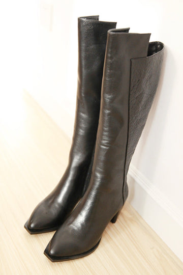 Corrine calf leather and crocodile print leather knee high boots