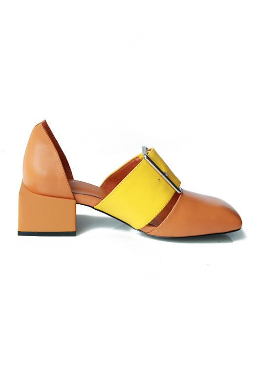 Jane Chunk Heel Loafers In Earth with Yellow Strap