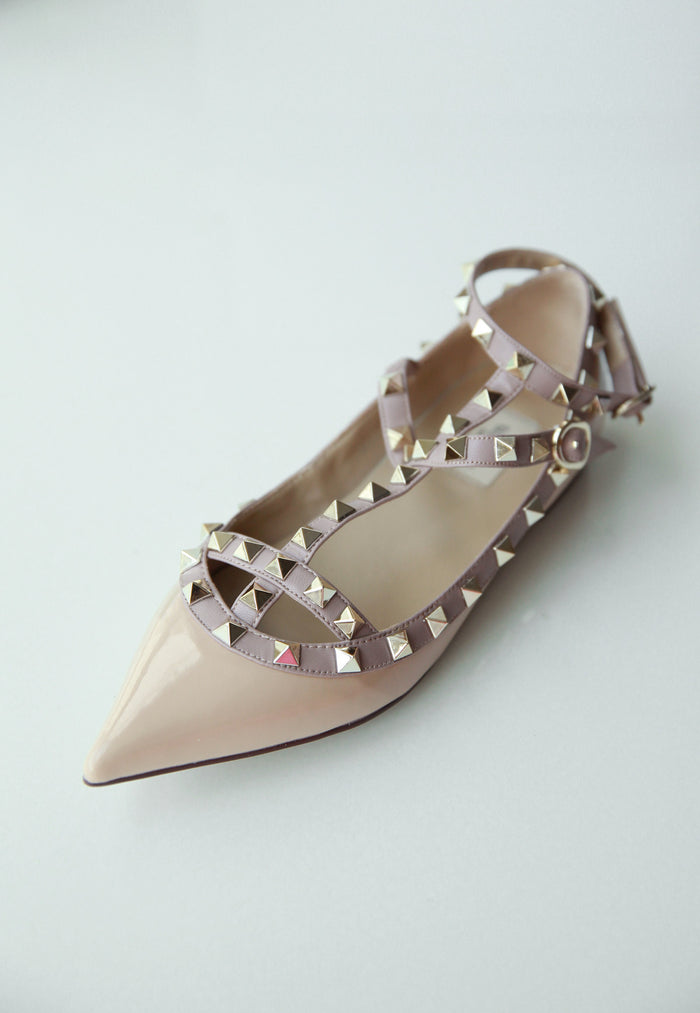 Daisy Studded Flats in Nude