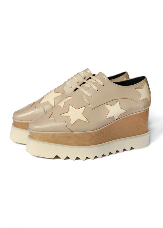 Moret Platform Wedge in Beige With Star
