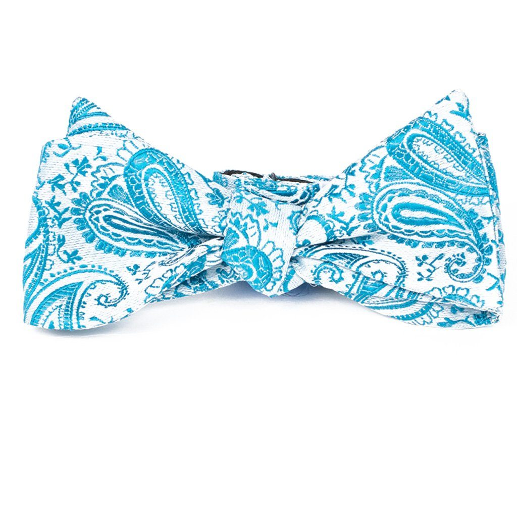 Bow Tie - Turquoise Paisley Silk Bow Tie