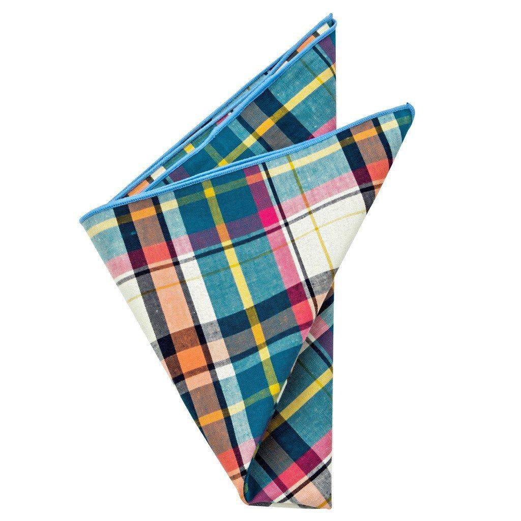Cotton Pocket Square - Corbin Summer Plaid Pocket Square