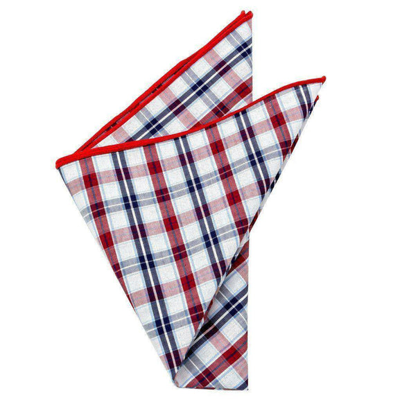 Cotton Pocket Square - Jefferson Plaid Pocket Square