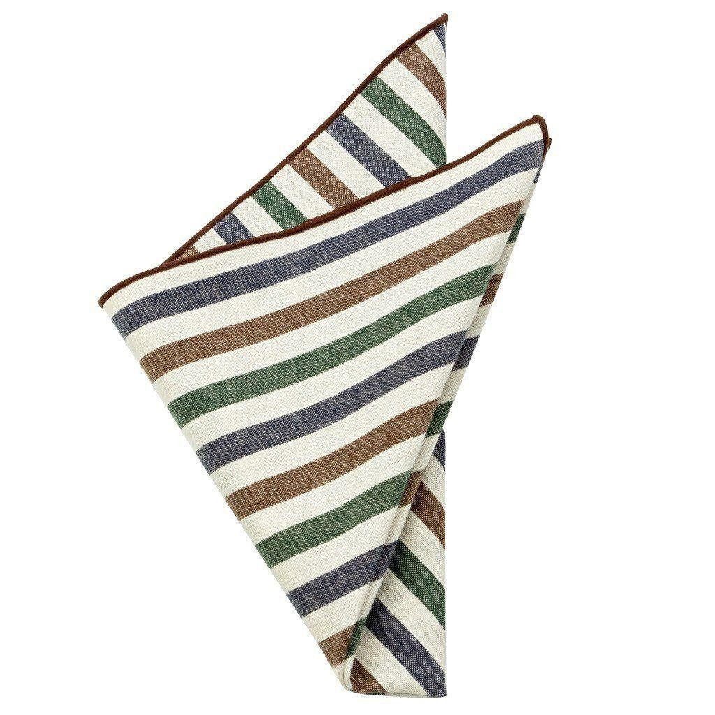 Cotton Pocket Square - Kingsley Striped Pocket Square