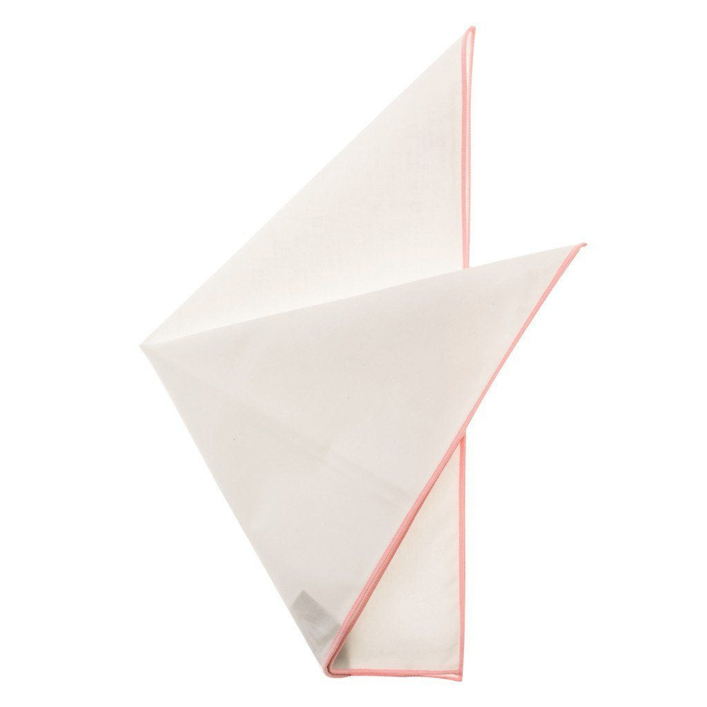 Cotton Pocket Square - Martha Blush Edge Pocket Square