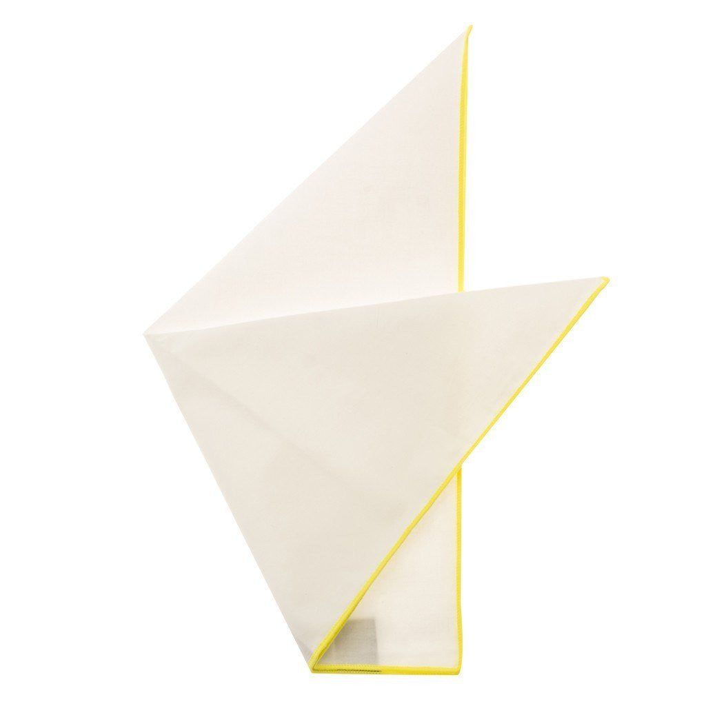 Cotton Pocket Square - Martha Canary Yellow Edge Pocket Square