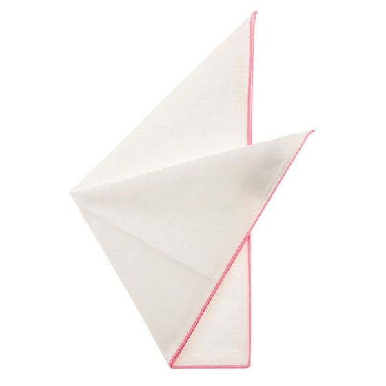 Cotton Pocket Square - Martha Carnation Pink Edge Pocket Square