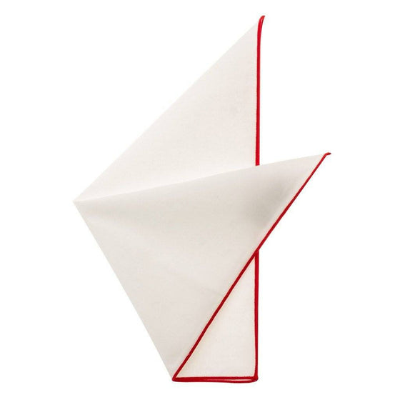 Cotton Pocket Square - Martha Cherry Red Edge Pocket Square