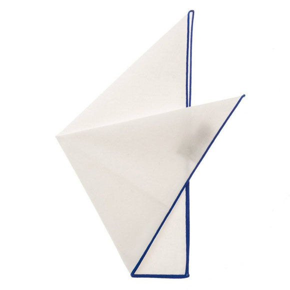 Cotton Pocket Square - Martha Cobalt Blue Edge Pocket Square
