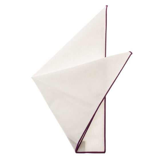 Cotton Pocket Square - Martha Eggplant Edge Pocket Square