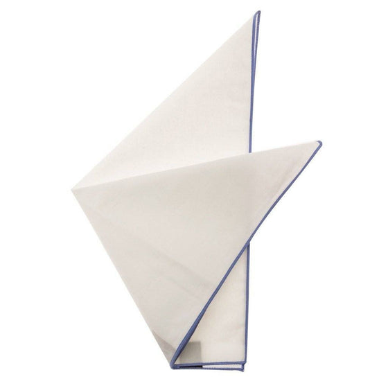 Cotton Pocket Square - Martha French Blue Edge Pocket Square