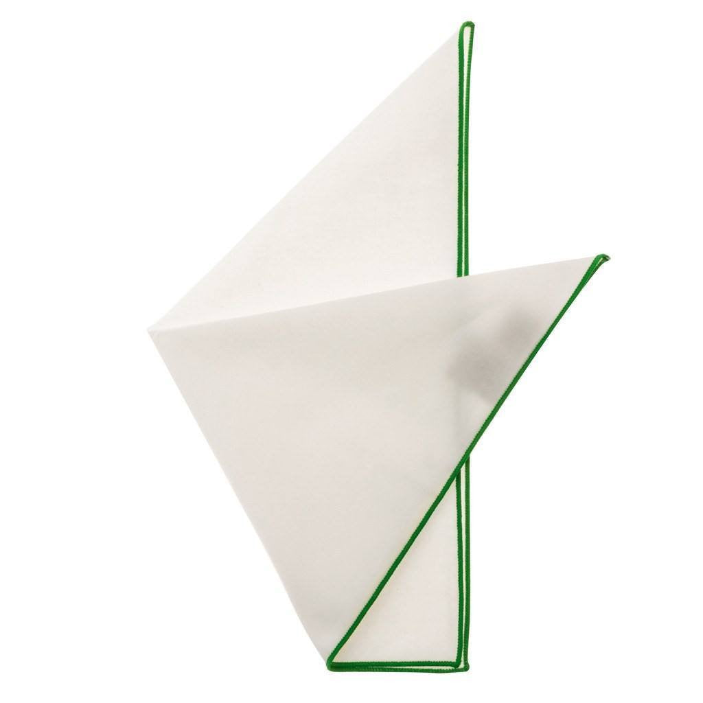 Cotton Pocket Square - Martha Kelly Green Edge Pocket Square