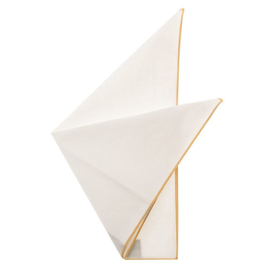 Cotton Pocket Square - Martha Khaki Edge Pocket Square