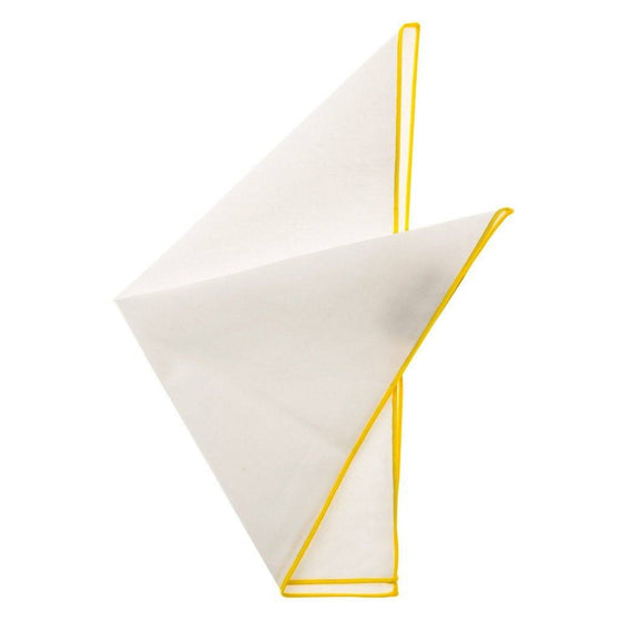 Cotton Pocket Square - Martha Lemon Yellow Edge Pocket Square