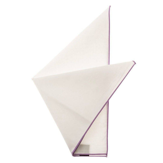 Cotton Pocket Square - Martha Lilac Edge Pocket Square
