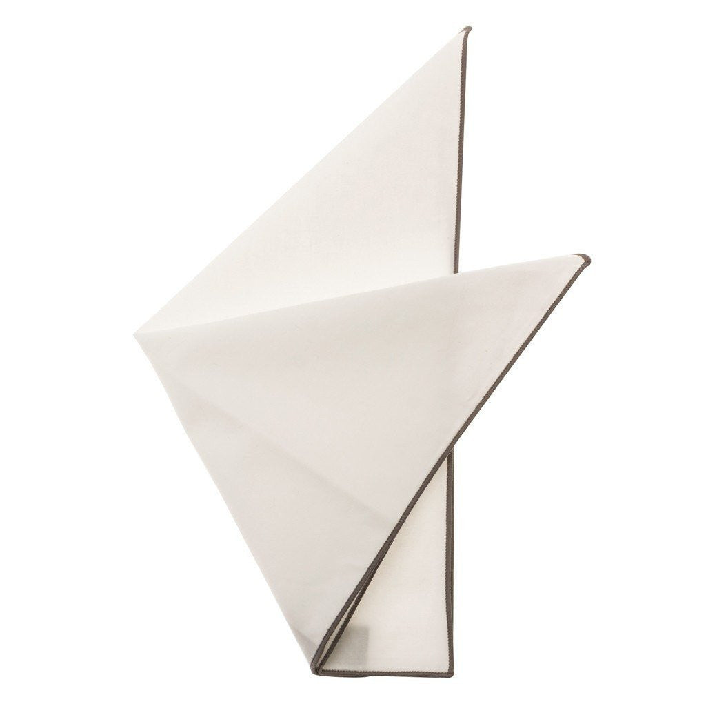 Cotton Pocket Square - Martha Slate Edge Pocket Square