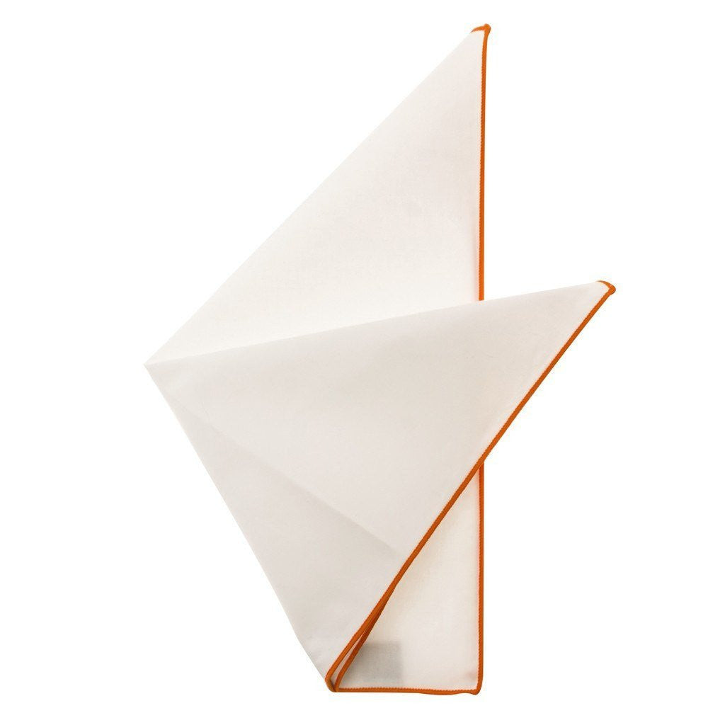 Cotton Pocket Square - Martha Tangerine Edge Pocket Square