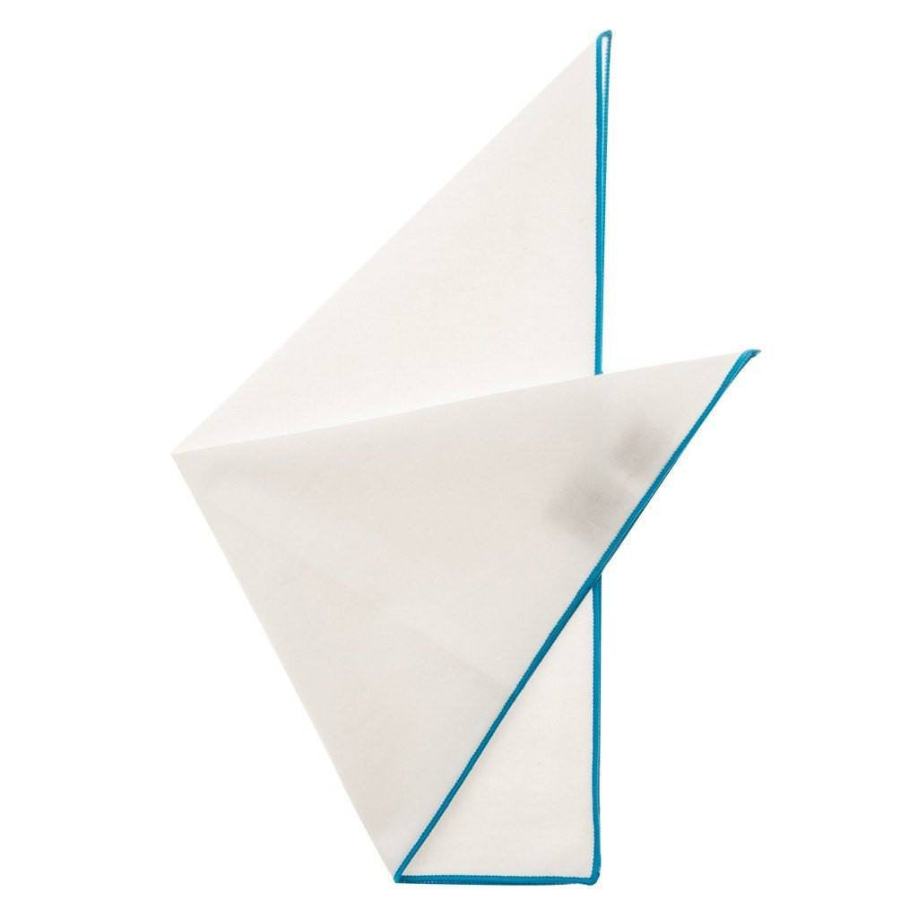 Cotton Pocket Square - Martha Turquoise Edge Pocket Square
