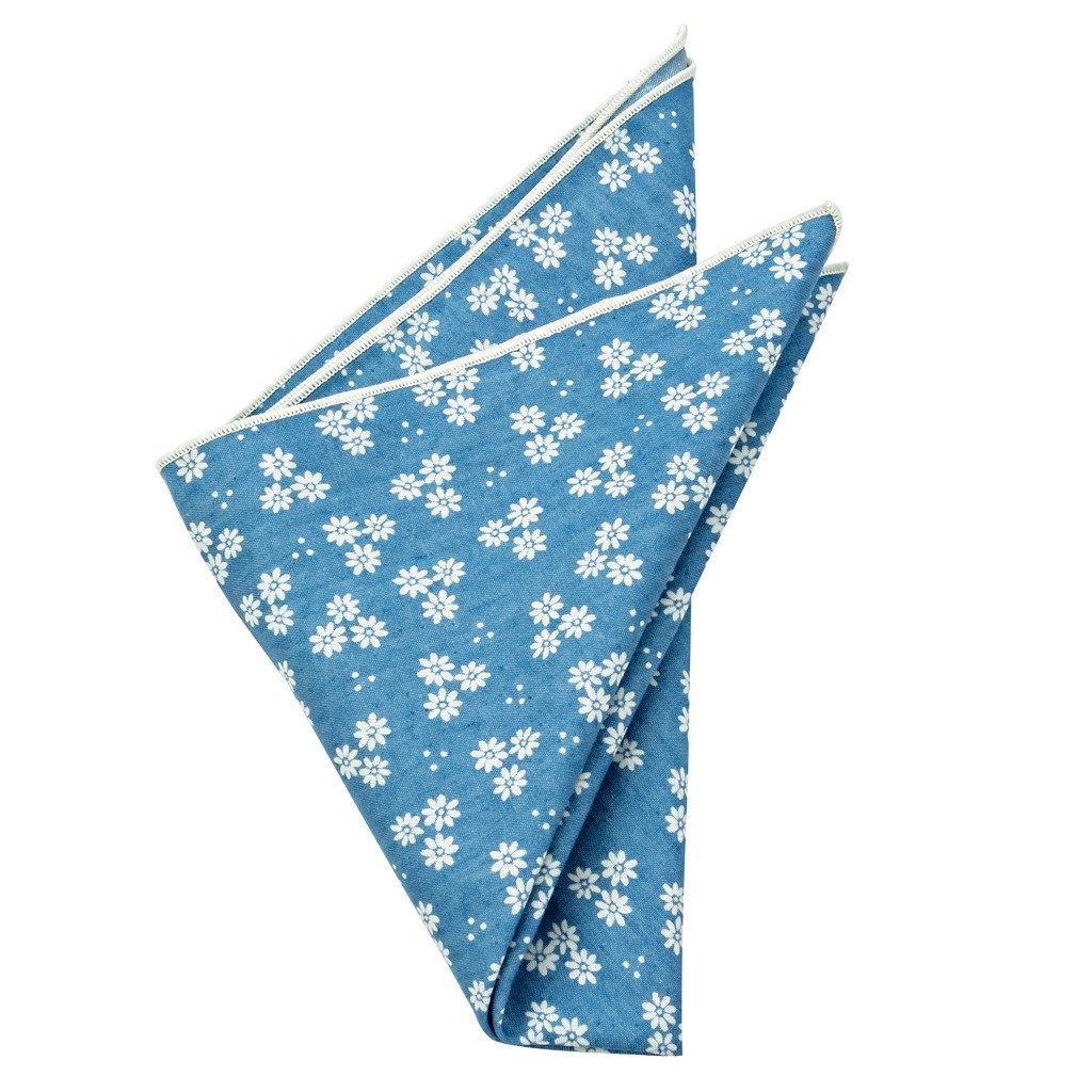 Cotton Pocket Square - Tucker Blue Floral Pocket Square
