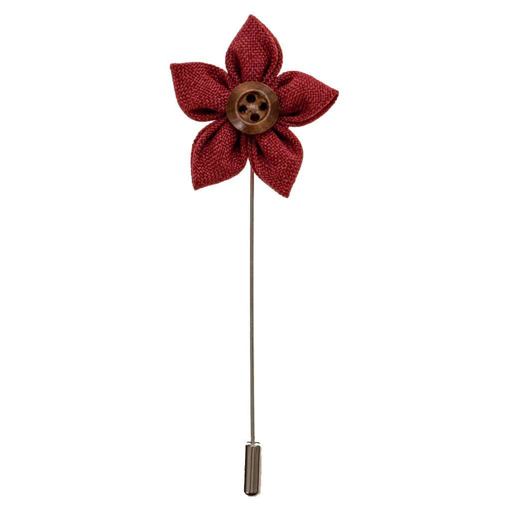 Lapel Pin - Burnt Umber Button Flower Lapel Pin