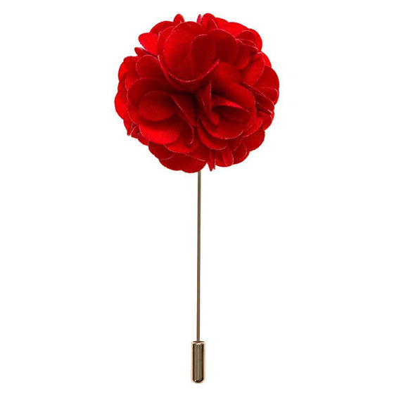 Lapel Pin - Cardinal Red Boutonniere Flower Lapel Pin