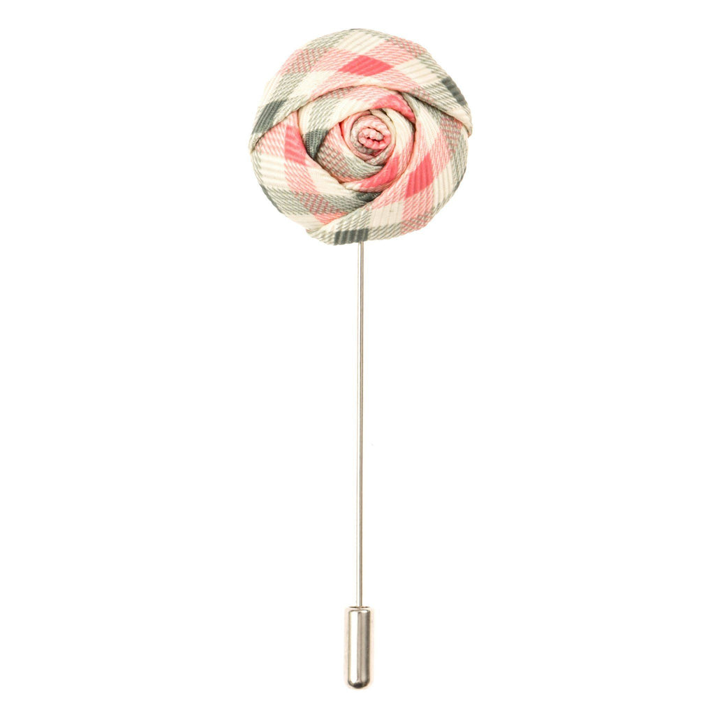 Lapel Pin - Green And Pink Gingham Flower Lapel Pin