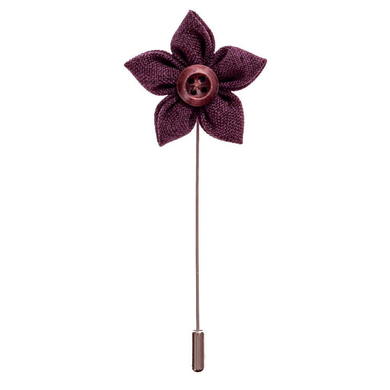 Lapel Pin - Merlot Button Flower Lapel Pin