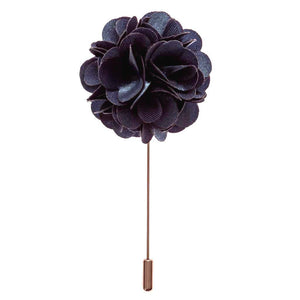 Lapel Pin - Navy Blue Boutonniere Flower Lapel Pin