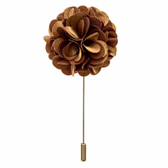 Lapel Pin - Raw Umber Boutonniere Flower Lapel Pin