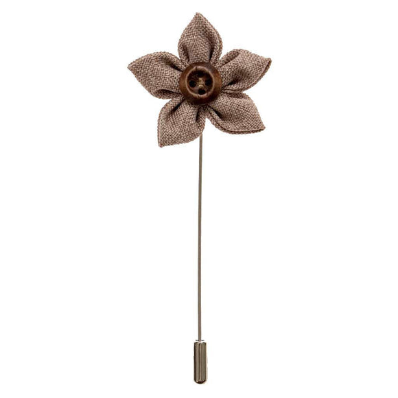 Lapel Pin - Taupe Button Flower Lapel Pin