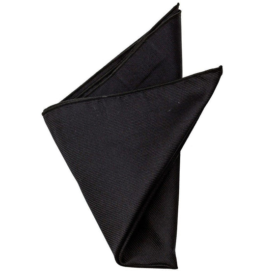 Silk Pocket Square - Malcolm Black Silk Pocket Square