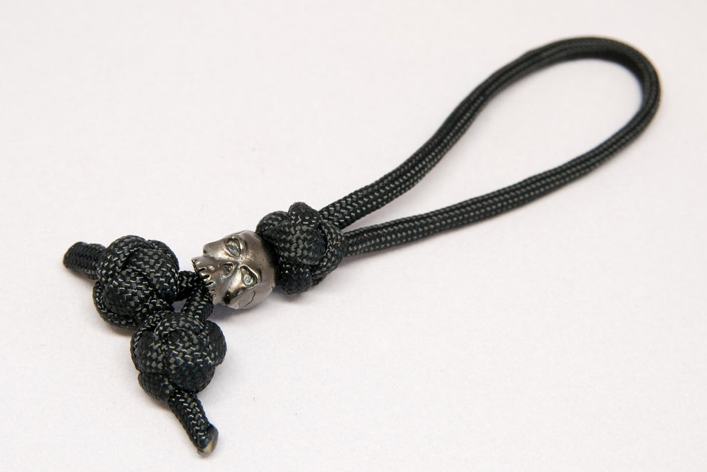 Classic Triple Diamond Knot Zipper Pull Hematite Matte - Closeout