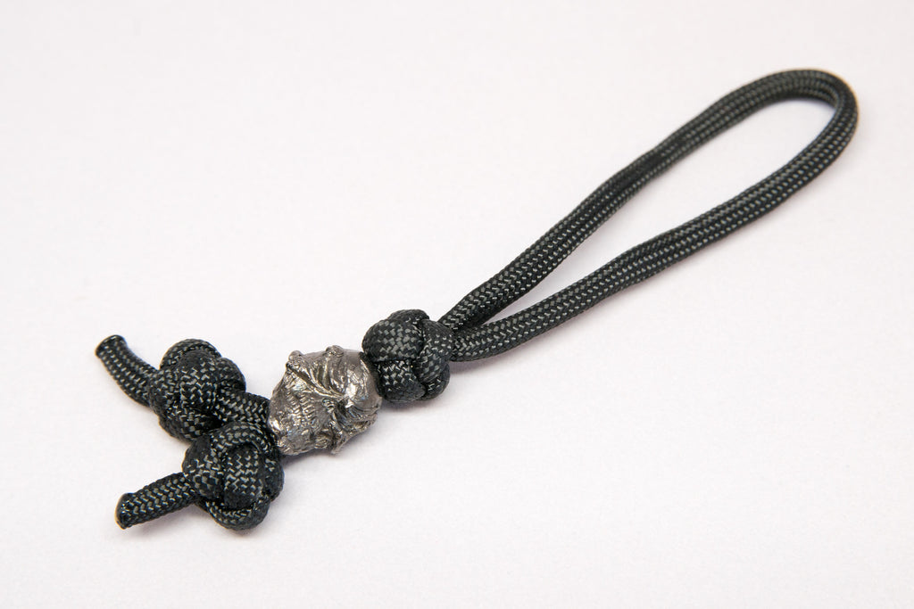 Grins Triple Diamond Knot Zipper Pull Hematite Matte - Closeout