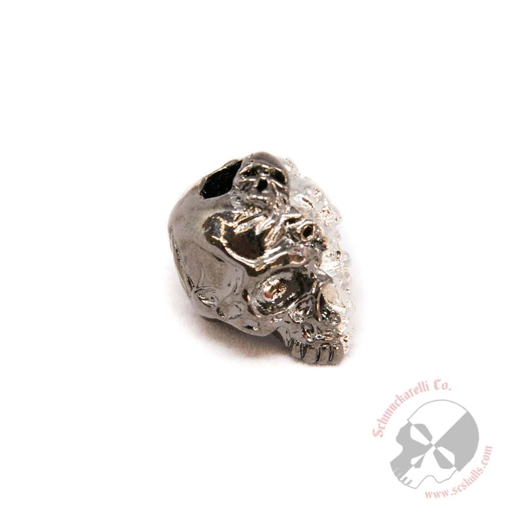 Mind Skull Bead - Split Finish Hematite and Rhodium