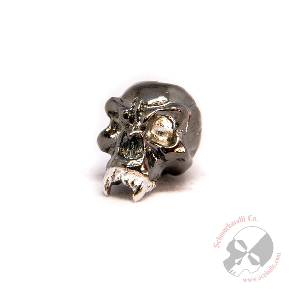 Fang Skull Bead - Split Finish Hematite and Rhodium