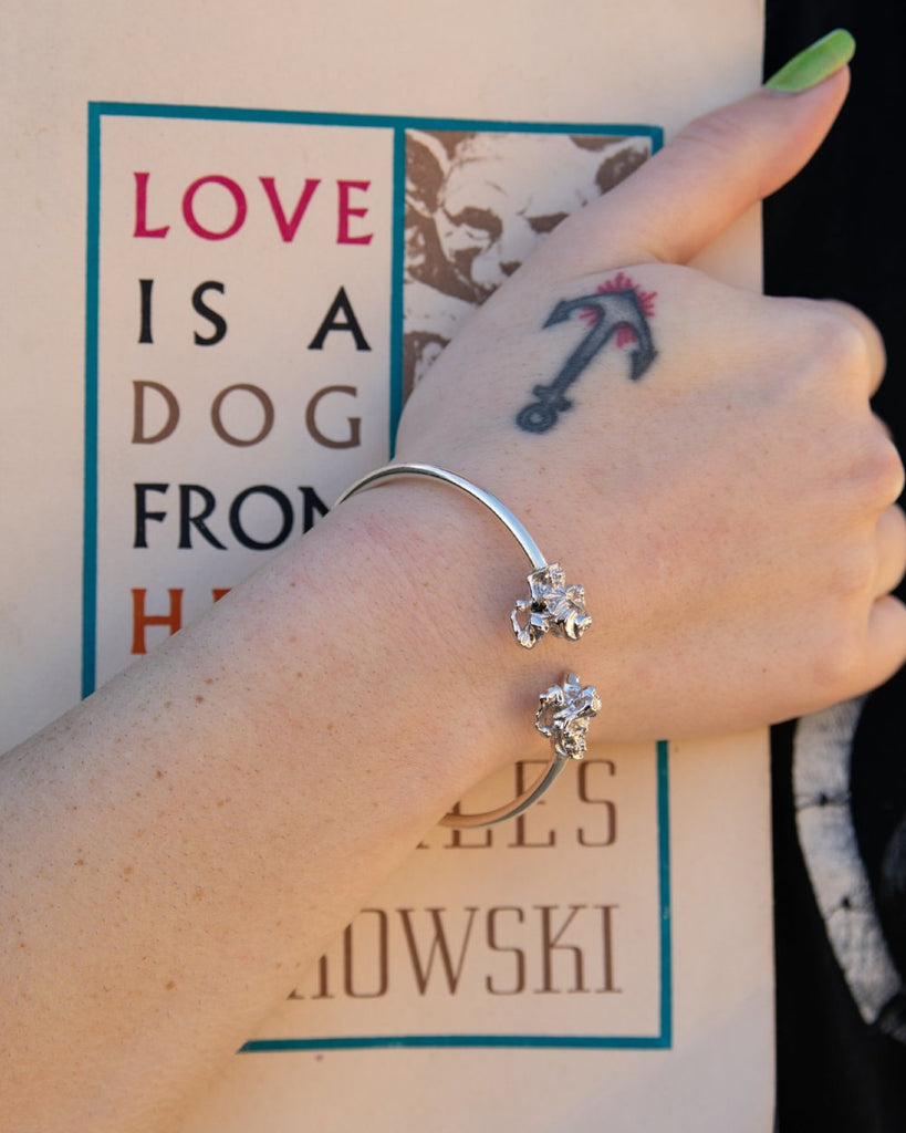Jester Skull Flex Bangle Silver Bracelet